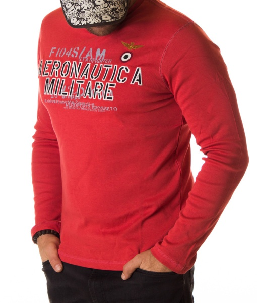 Aeronautica Militare Sweaters - T-shirt Long Sleeve Starfighter - Red