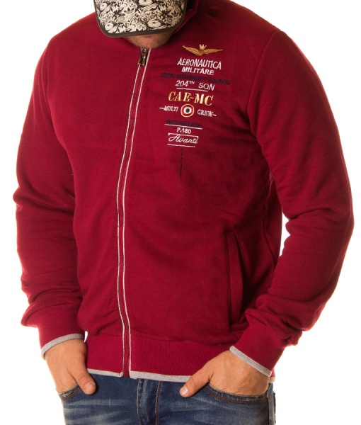Aeronautica Militare Zip Hoodies - Zip Hoodie Multi Crew Red