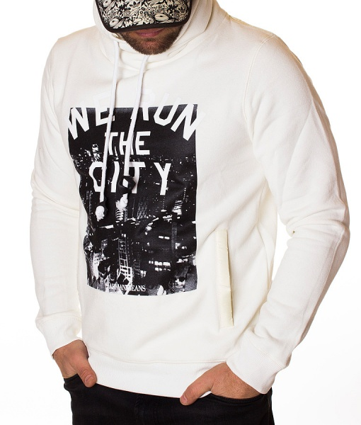 Armani Overhead Hoodies - Overhead Hoodie We Run The City - White