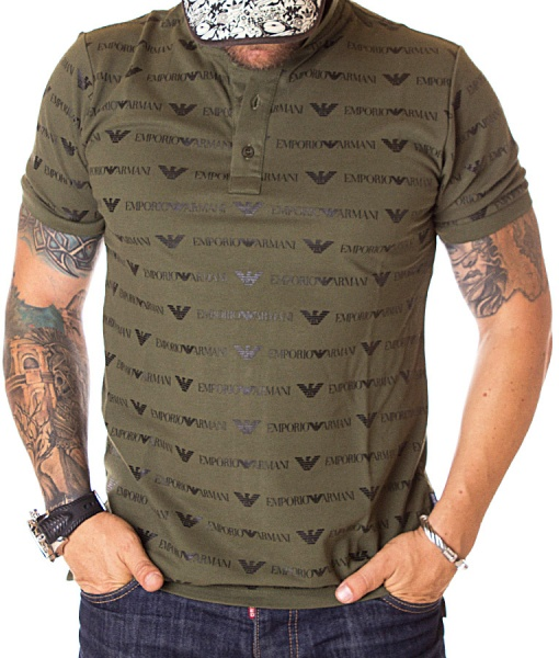 Armani Short Sleeve Polos - Polo Shirt Green Logo Pattern