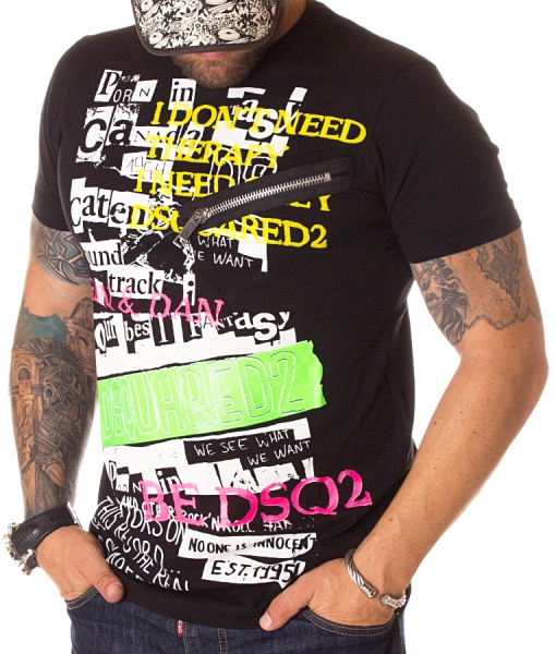 Dsquared Crew Neck T-shirts - T-shirt Need Therapy Black