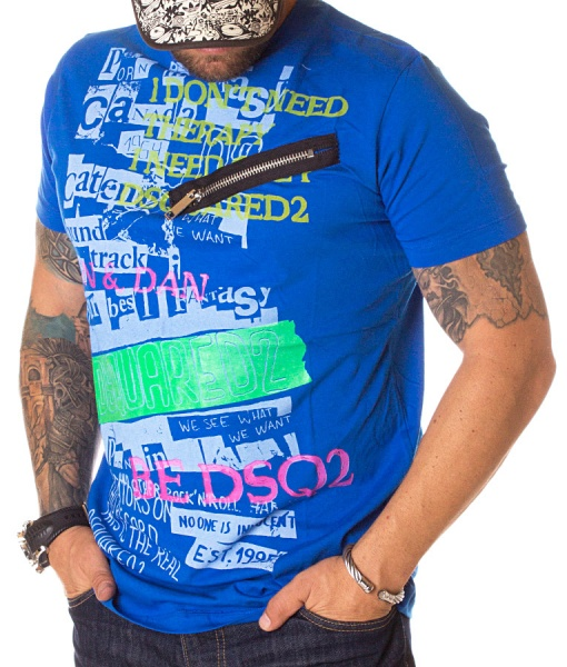Dsquared Crew Neck T-shirts - T-shirt Need Therapy Blue
