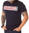 Dsquared Crew Neck T-shirts - T-shirt Paper Logo DSQ2 Navy Blue - price €45.00 - on special price only in RefoStore with great discount: - 63%