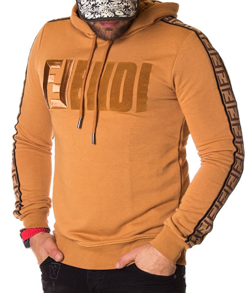 Fendi Overhead Hoodies - Overhead Hoodie Double FF - Camel color
