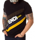 Fendi Short Sleeve Polos - Short Sleeve Polo Shirt Roma - Black - Yellow