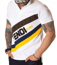 Fendi Short Sleeve Polos - Short Sleeve Polo Shirt Roma - White - Yellow - price €65.00 - on special price only in RefoStore with great discount: - 64%