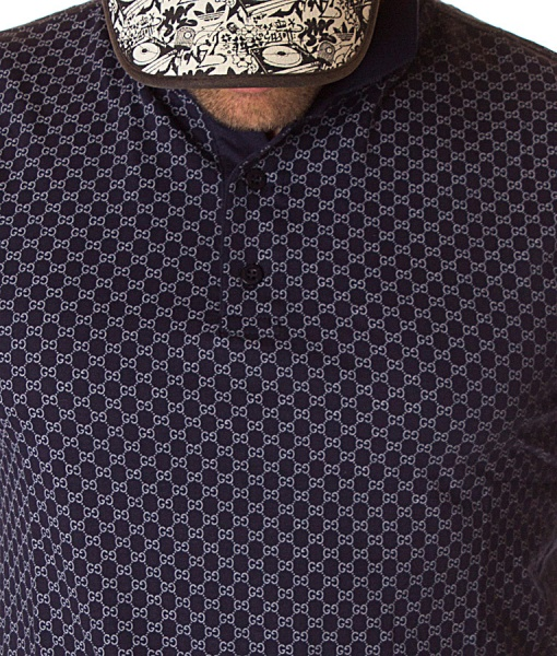 Gucci Short Sleeve Polos - Polo Shirt Logo Pattern - Navy Blue