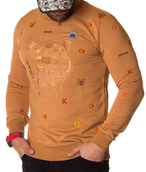 Kenzo Sweaters - Paris Winter Sweater Printed Letters - Camel
