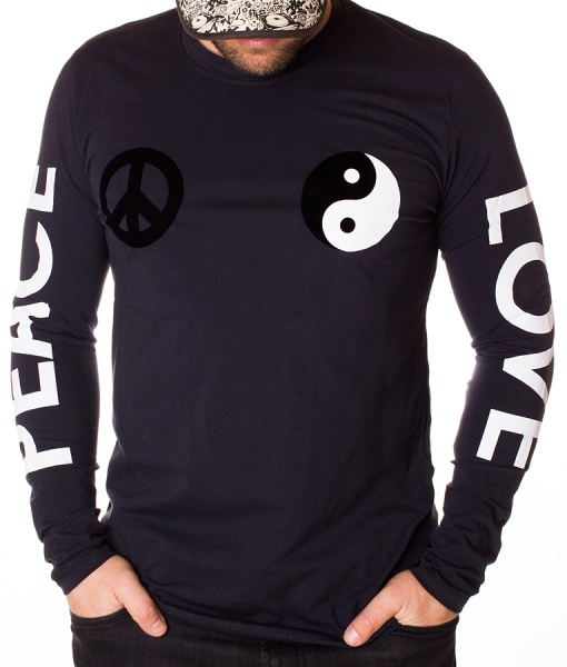 Moschino Sweaters - Long Sleeve T-shirt Peace Love - Navy Blue