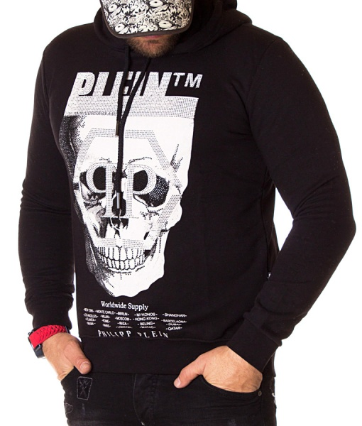 Philipp Plein Overhead Hoodies - Overhead Hoodie Worldwide Supply - Black