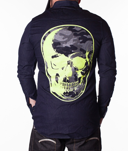 Philipp Plein Long Sleeve Shirts - Shirt Poision Skull - Navy