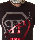 Philipp Plein Crew Neck T-shirts - Black T-shirt Printed Logo Edition