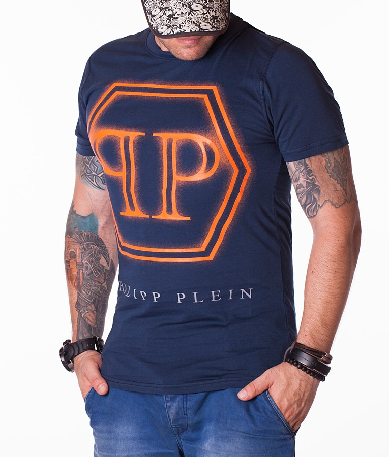 philipp plein pp logo t shirt navy 1501 crew neck t shirts t shirts refostore. Black Bedroom Furniture Sets. Home Design Ideas