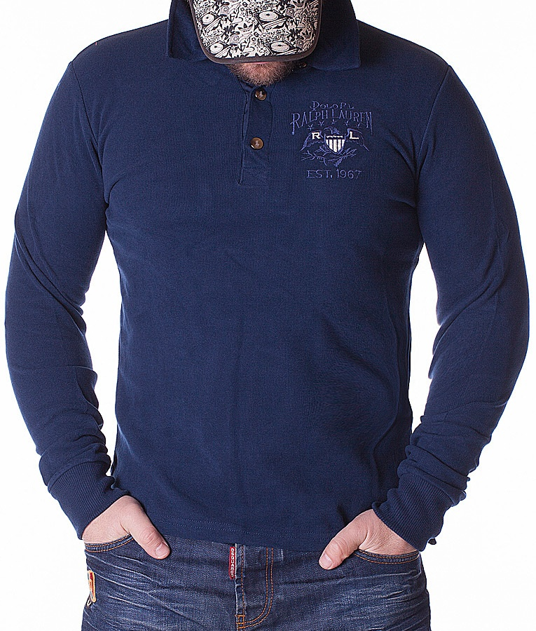 Ralph Lauren Long Sleeve Polos - Polo Shirt Est.1967 - Navy