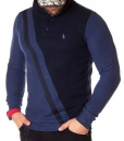Long Sleeve Polos - Long Sleeve Polo Shirt Two Tone - Navy Blue