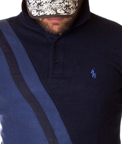 Ralph Lauren Long Sleeve Polos - Long Sleeve Polo Shirt Two Tone - Navy Blue