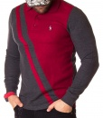 Long Sleeve Polos - Long Sleeve Polo Shirt Two Tone - Red