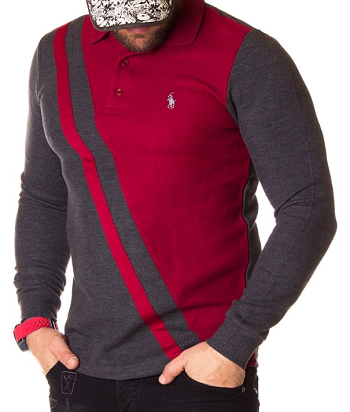 Ralph Lauren Long Sleeve Polos - Long Sleeve Polo Shirt Two Tone - Red