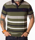 Ralph Lauren Short Sleeve Polos - Polo Shirt Striped - Green - Navy