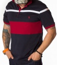 Short Sleeve Polos - Polo Shirt Striped - Navy - Red