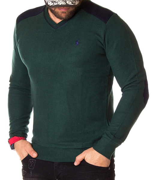 Ralph Lauren Sweaters - Knitted Green Sweater V Neck Collar