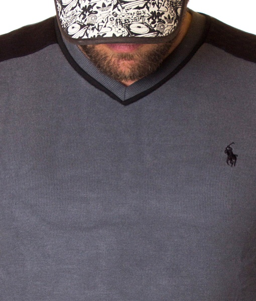 Ralph Lauren Sweaters - Knitted Grey Sweater V Neck Collar