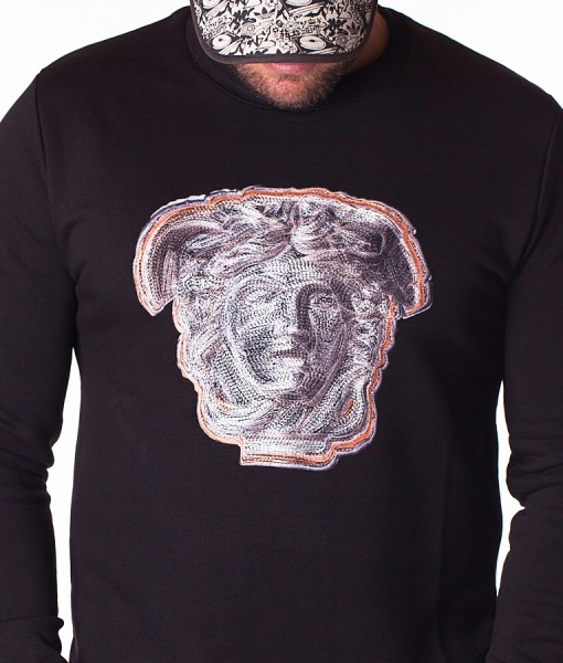 Versace Jumpers - Pulover Classic Head Logo - Black