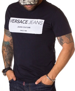 Versace Jeans T Shirt Baroque Black Crew Neck T Shirts T Shirts Refostore
